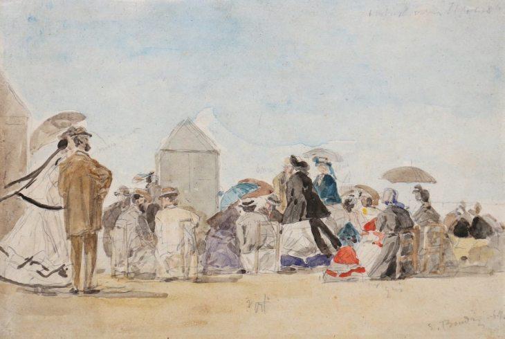 Eugène Boudin, Élégantes en crinolines sur la plage, 1864