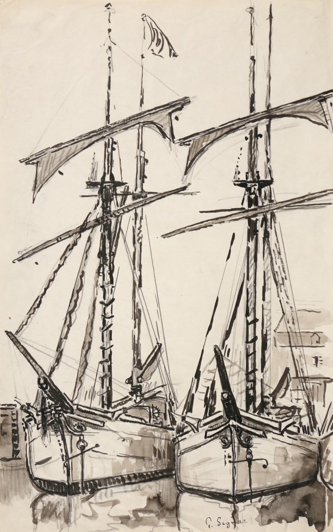 Paul Signac, Deux goélettes à quai