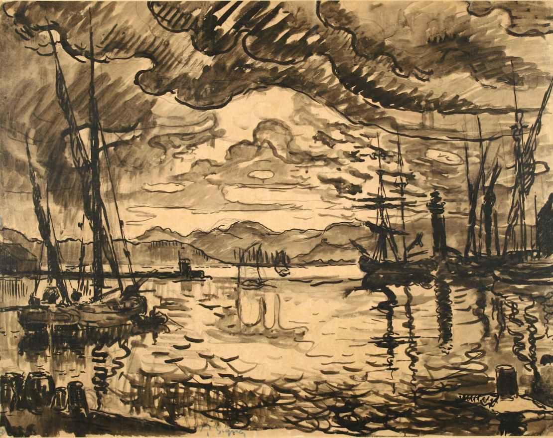 Paul Signac, Le Port de Saint-Tropez, le soir, Circa 1906