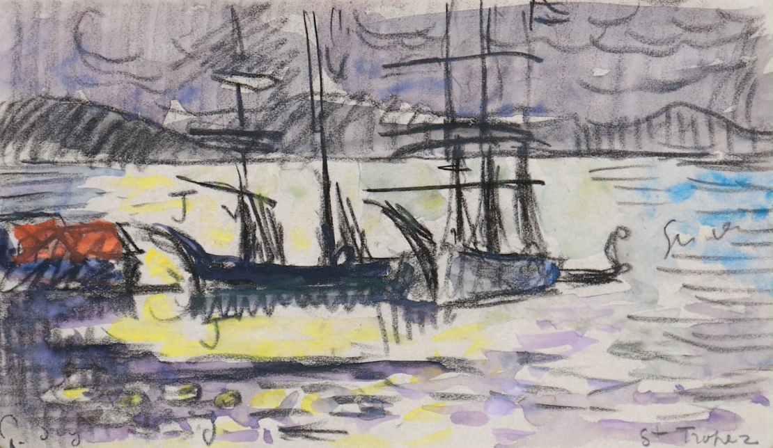 Paul Signac, Saint-Tropez, le chantier naval (nocturne), Circa 1910