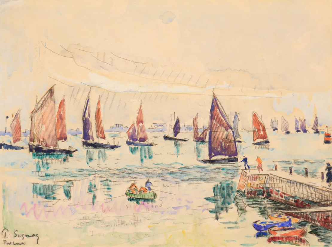 Paul Signac, Port-Louis, les sardiniers, Circa 1920