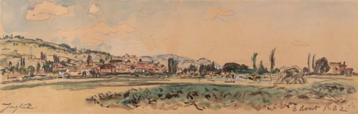 Johan-Barthold Jongkind, La Côte Saint-André vue de la Plaine de Bièvre, Watercolor