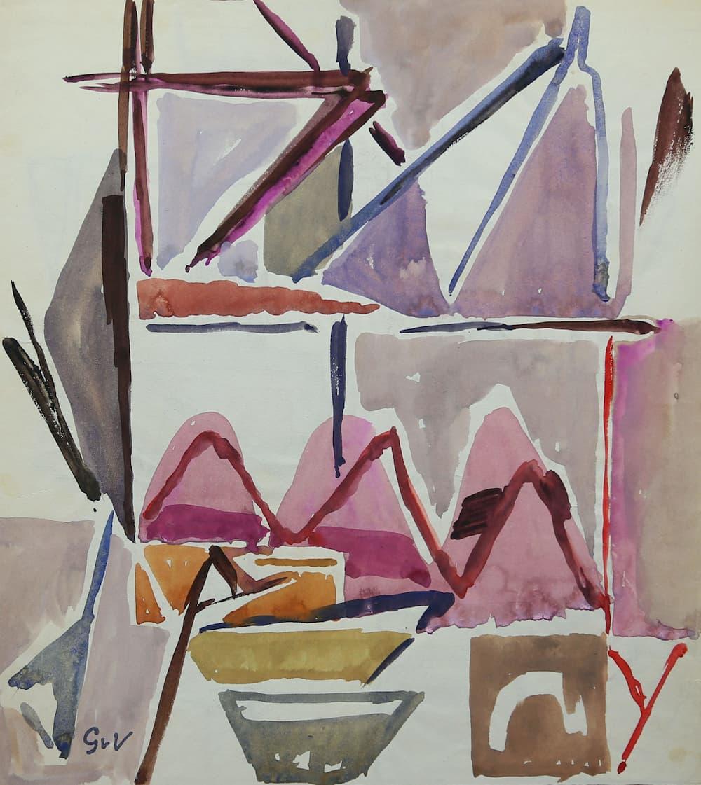 Geer van VELDE, Composition, C.1960, gouache et aq, 23,2 x 21 cm