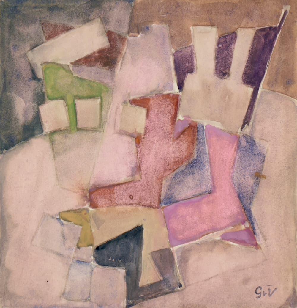 Geer van VELDE, Composition, C.1963, gouache et aquarelle, 21 x 20 cm