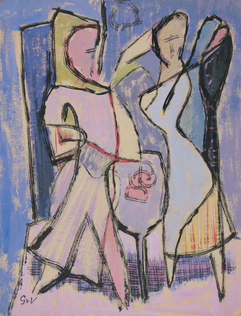 Geer van VELDE, L'essayage, C.1937, gouache, 27 x 21 cm