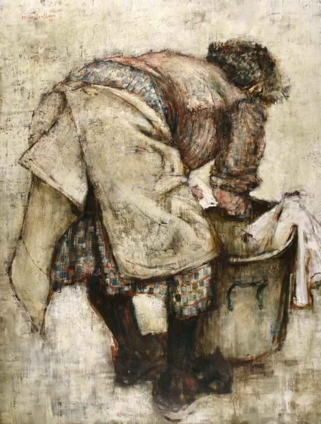 Michel de Gallard, laveuse, Oil on canvas