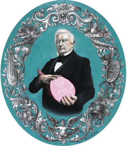 Millard Fillmore, holding a ham - by Bijijoo