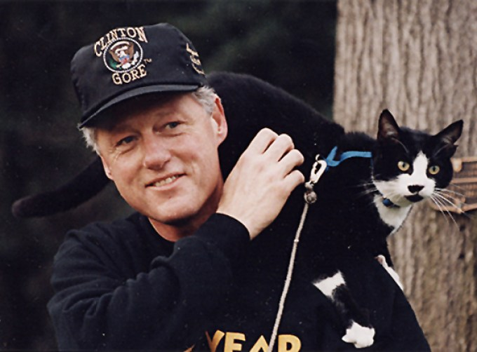 President Clinton and Socks the cat.