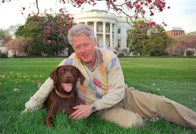 President Clinton and Buddy.