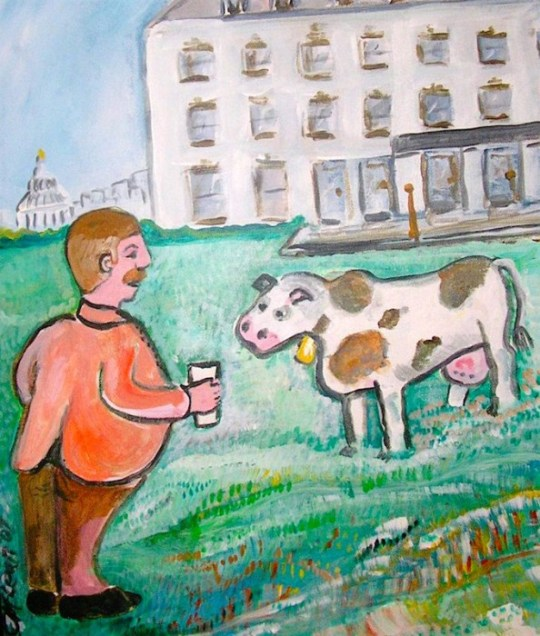 Painting by Presidential Pet Museum founder Claire McLean.