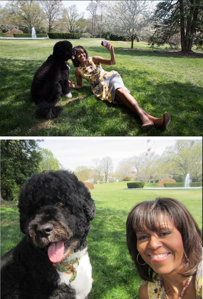 First Family selfie —Michelle and Bo Obama, August 2013.