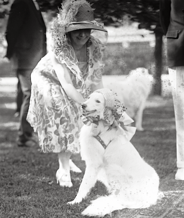 Grace Coolidge with Prudence Prim (in bonnet) at a garden party, June 3, 1926.