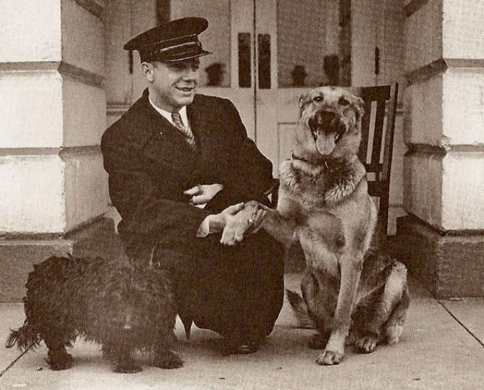 Major, a former police dog, at right, is pictured with Meggie, the Roosevelt's first Scottish terrier at the White House.