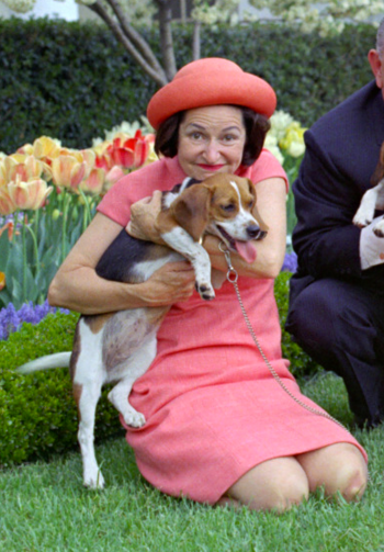 Lady Bird Johnson poses with Freckles, April 1966.