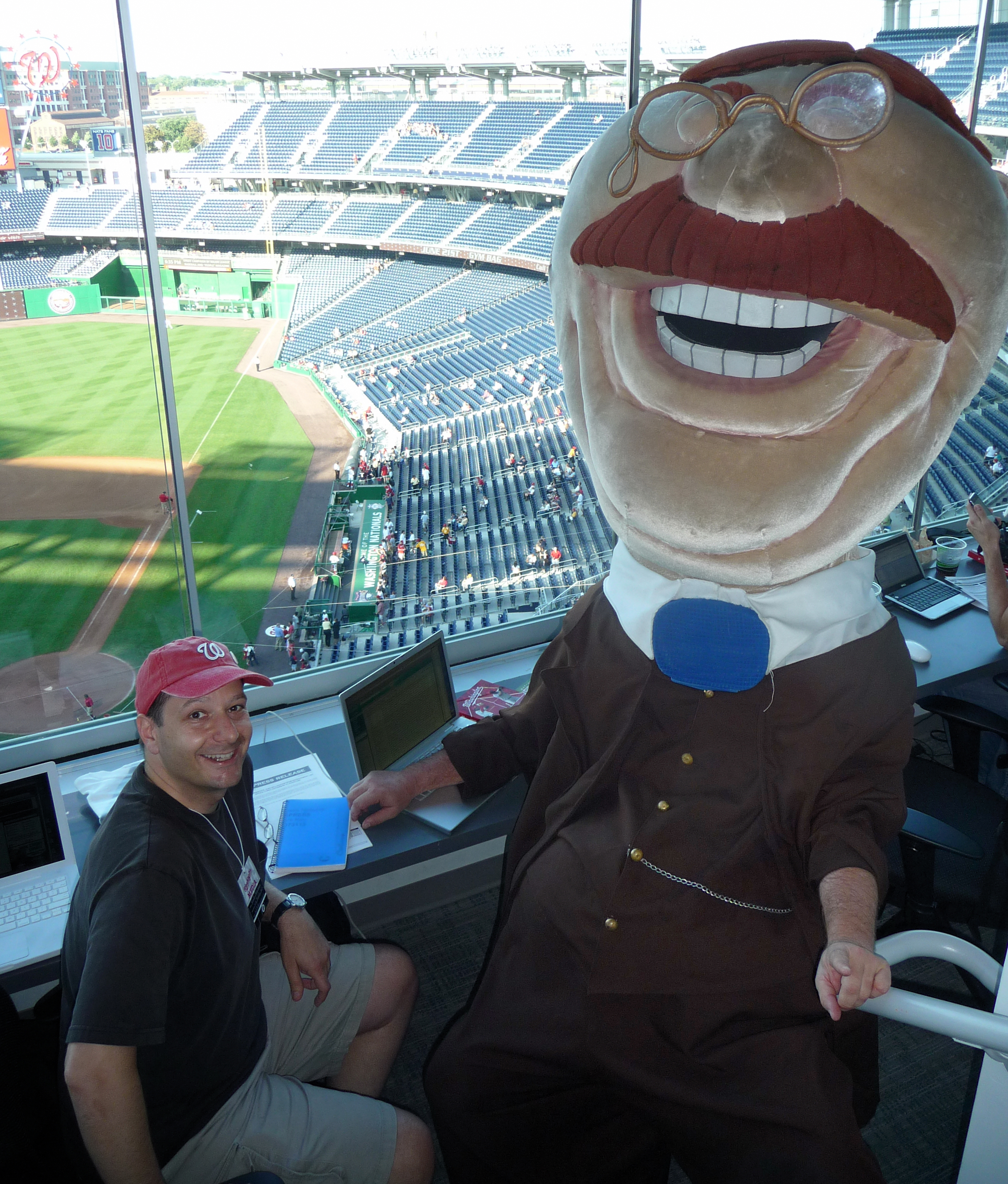 Nationals Press Box with Teddy