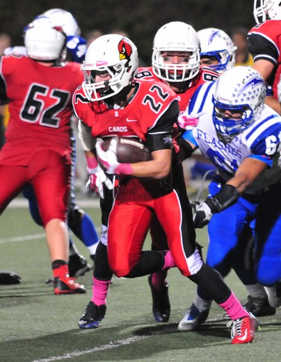 Bishop Diego running back Daniel Molina led the Cardinals with 133 rushing yards.