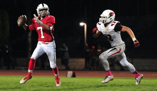 Matt Shotwell, right, was Bishop Diego's leading tackler.