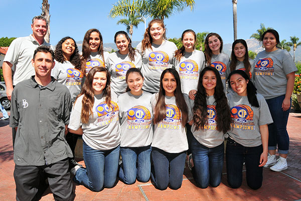 Burich, top left, with his CIF championship girls basketball team.