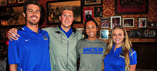UCSB swim team members Josh Smith, Lukas Paulauskas, Charis Hoppe and Madison Tedesco at Monday's press luncheon. (John Dvorak/Presidio Sports Photos)