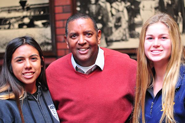 Dos Pueblos girls soccer coach Hugh Hollis and his team captains Idalis Rodriguez, left, and Anya Schmitz.