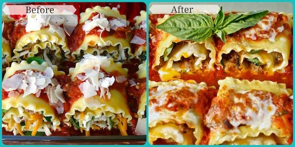 Spicy Sausage Mushroom Lasagna Rolls
