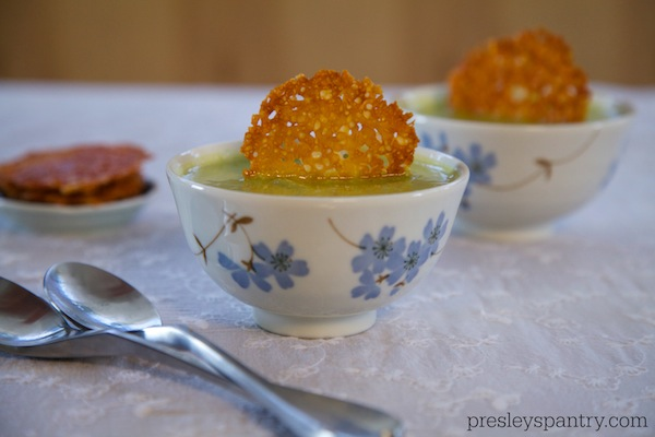 Parmesan Crisps In A Creamy Zucchini Soup