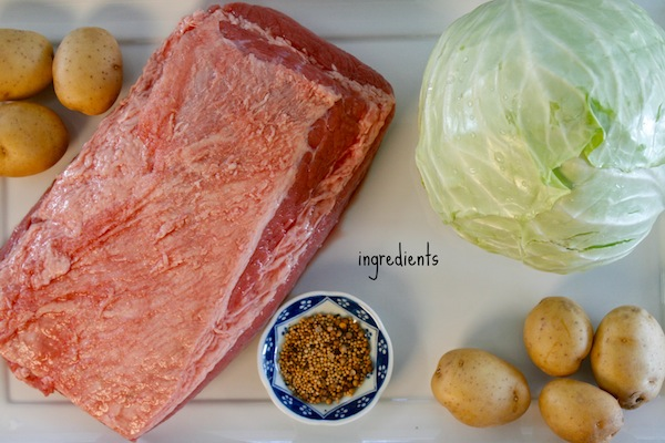 The ingredients needed for a corned beef meal