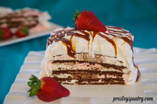 creamy cajeta on top of a neapolitan ice cream sandwich cake