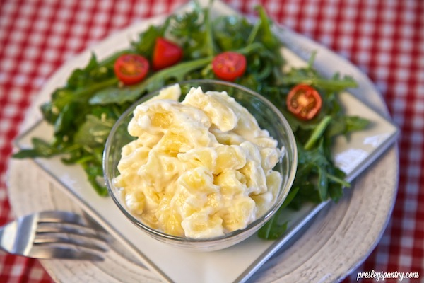 Marie Callendar's white cheddar mac and cheese served with a simple salad