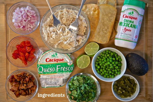 ingredients for Mexican stadium chicken salad