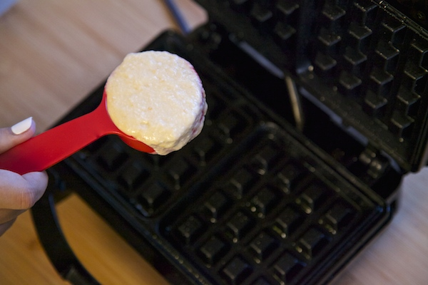 waffle batter about to be poured onto the waffle iron