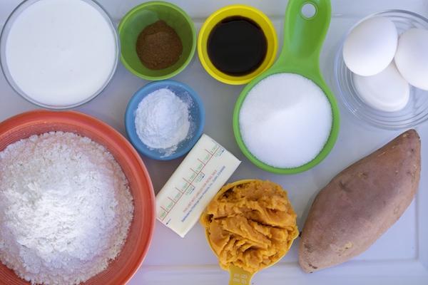 ingredients for sweet potato churro waffles