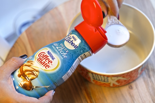 making dulce de leche coffee-mate drizzle