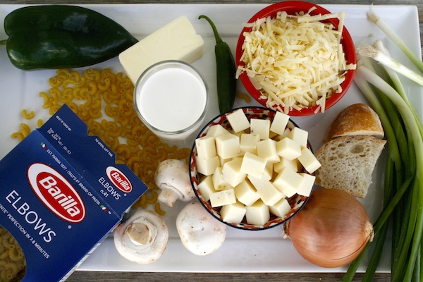 Ingredients needed for poblano mushroom mac and cheese