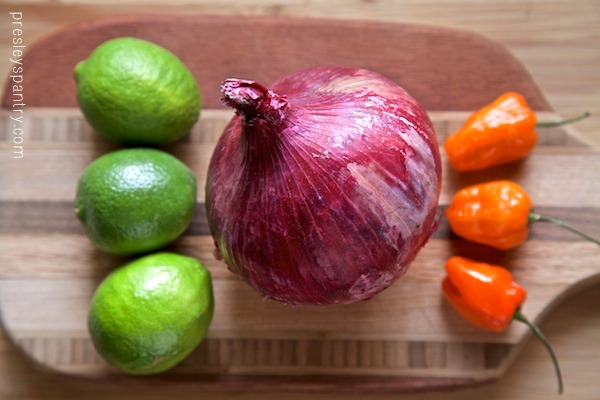 The key ingredients for spiced onions. The citrus and habanero really pack a spicy punch on the already potent red onion.