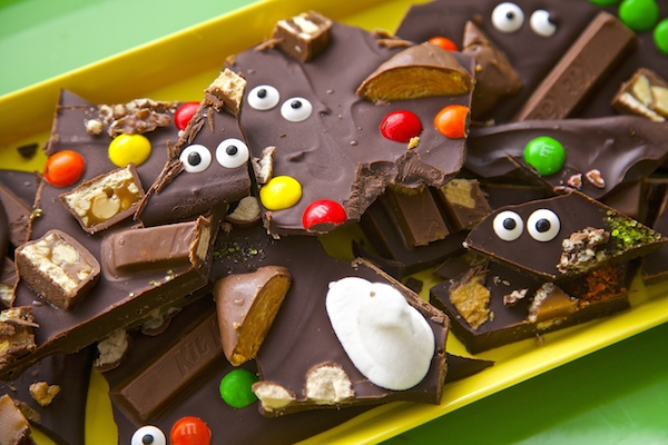 Peek-a-boo halloween candy bark broken into pieces and ready to eat.