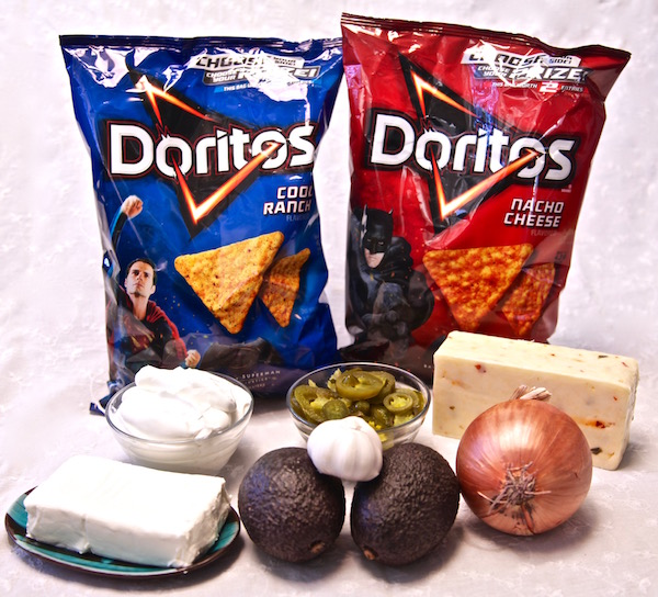 All the ingredients for cheese dip for Doritos