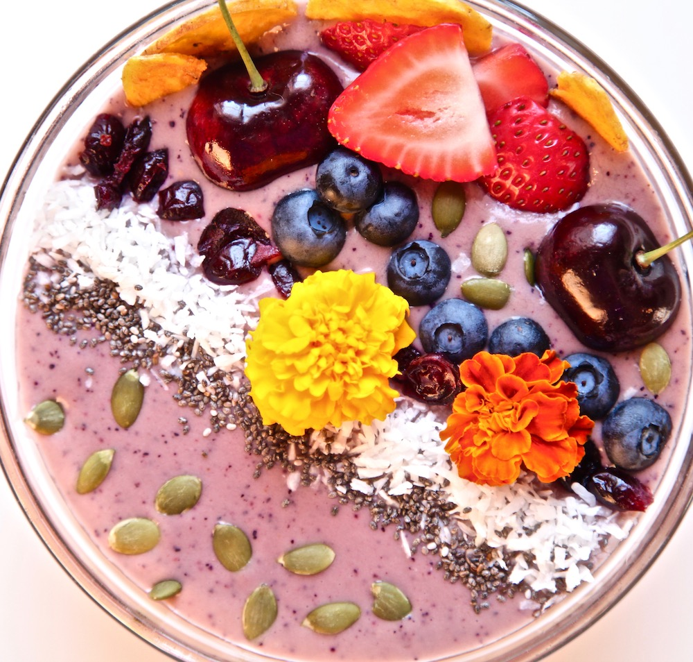 My delicious berry banana avocado smoothie bowl made with Cacique yogurt.