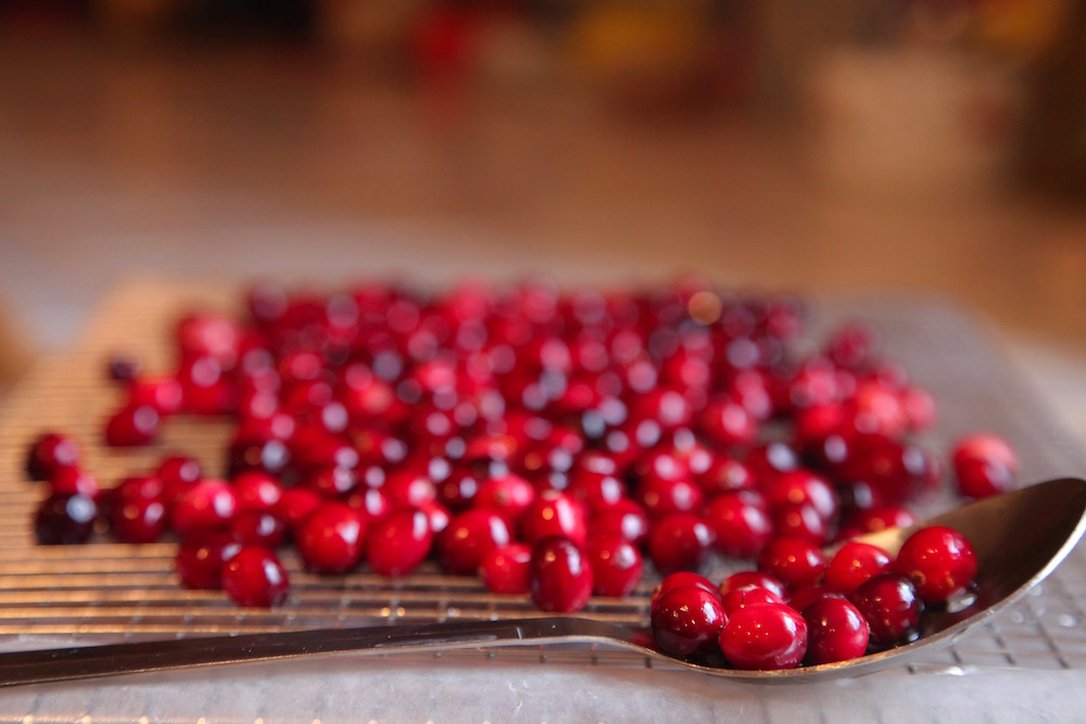 cranberries drying off