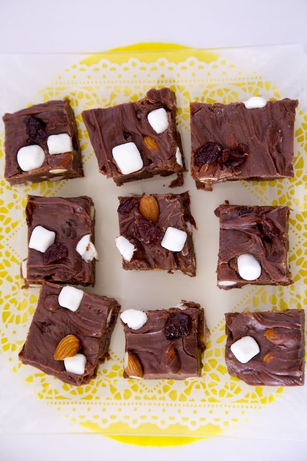 This easy to make Rocky Road Fudge can be made the day before Easter and ready to serve when your guests arrive.