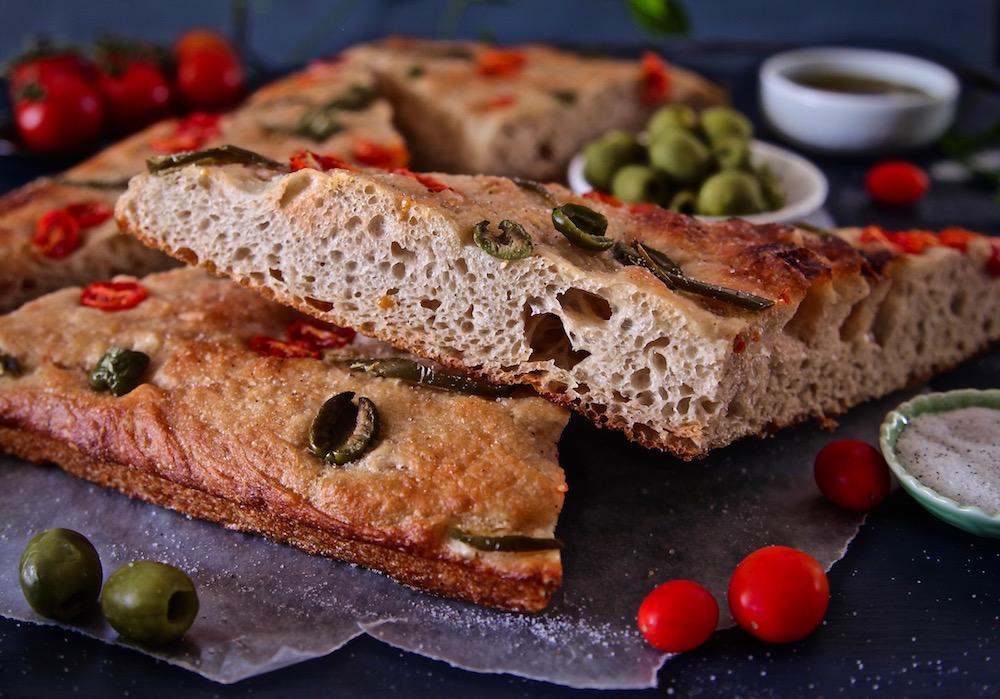 Tomato Olive Jalapeño Focaccia