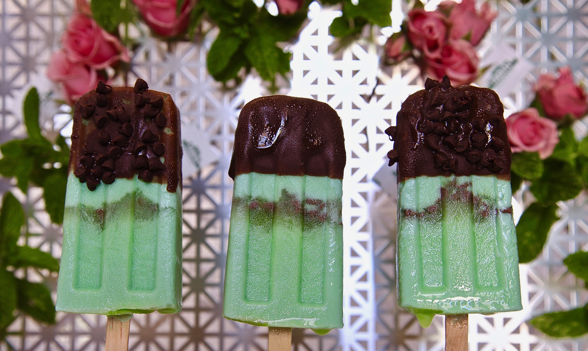 Mint And Chip Paletas Made With TADIN Tea