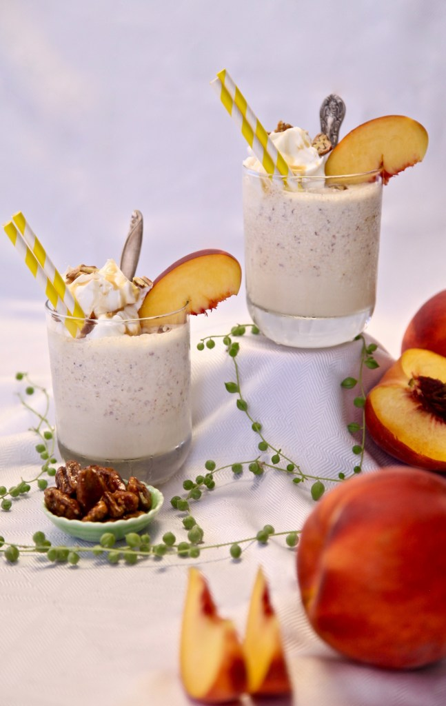 Caramel Peach buttered pecan shake made with Torani syrup and sauce.