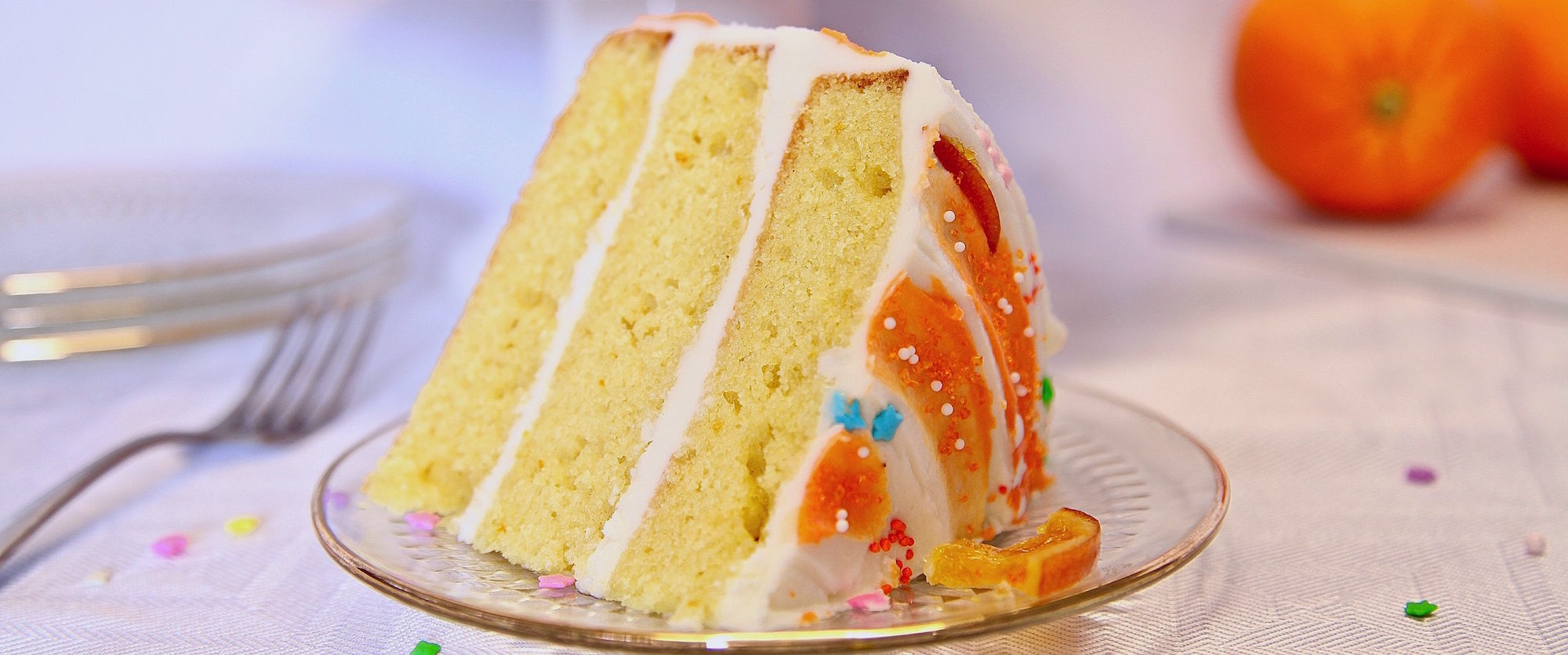 Moist Layer Orange Cake With Buttercream Frosting