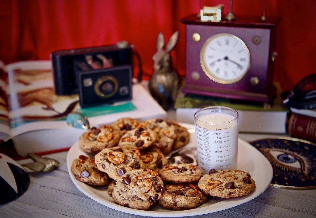Chocolate Chip Pretzel Candied Pecan Cookies inspired by The House With A Clock In Its Walls