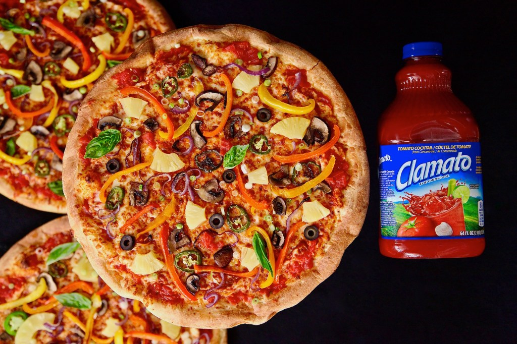 Spicy Peppery Vegetable Pizzas made with Clamato