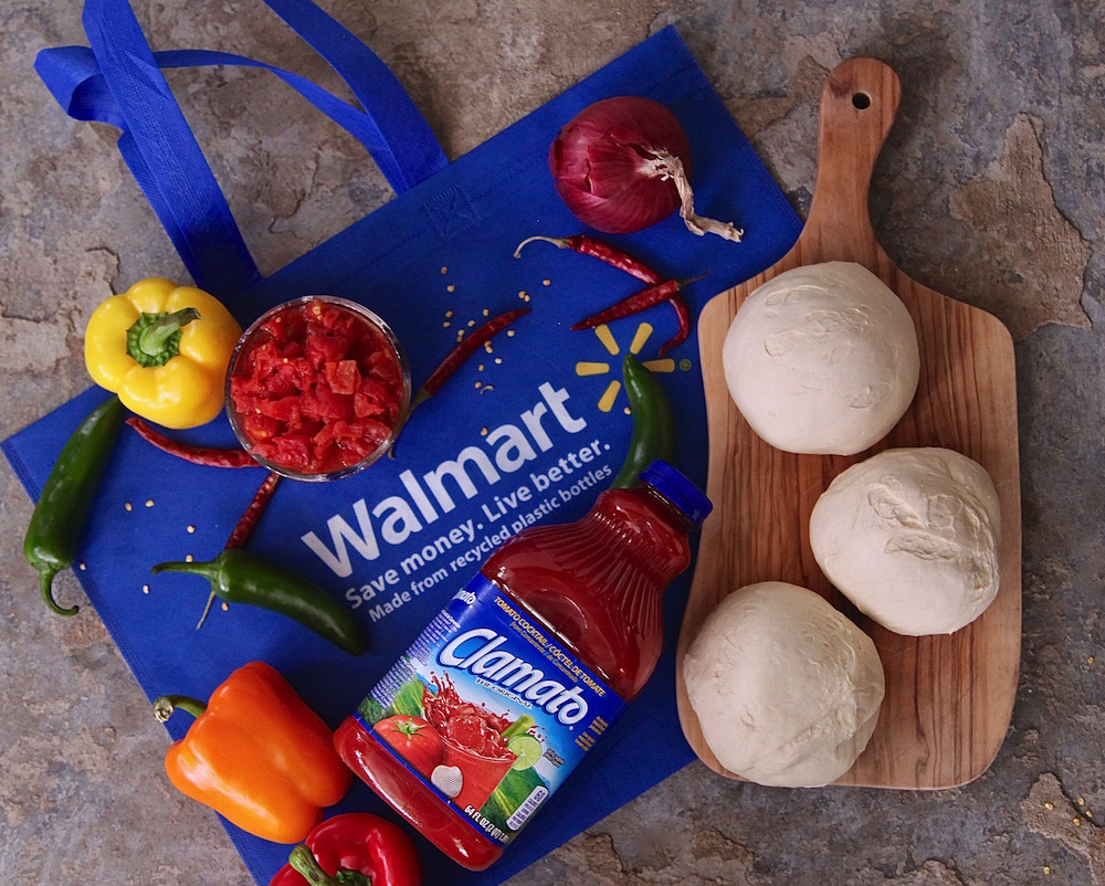 Ingredients from Walmart for Spicy Peppery Vegetable Pizzas