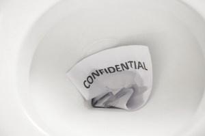 confidential document flush away