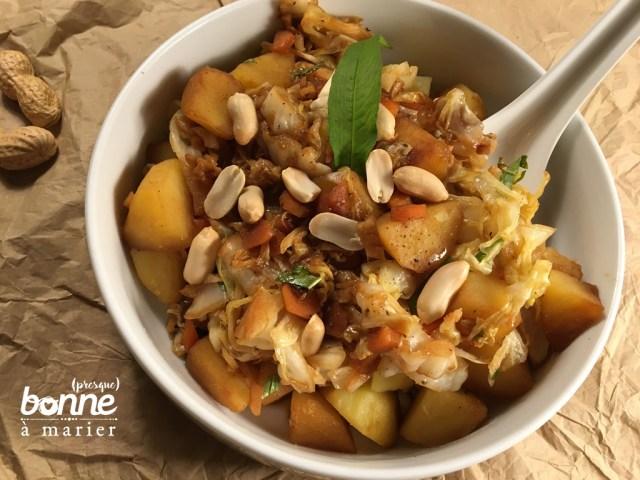 Poêlée de chou blanc et pommes de terre au gingembre