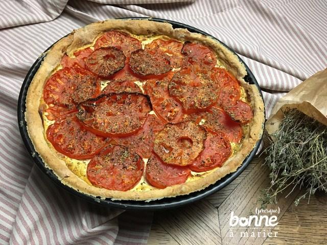 Tarte salée aux tomates coeur de boeuf, ricotta et moutarde